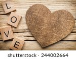 Wood Heart On Old Wooden...