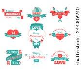 set of happy valentine's day | Shutterstock .eps vector #244009240