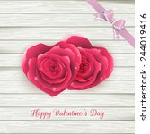 couple hearts of red roses on... | Shutterstock .eps vector #244019416
