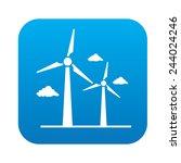 wind turbine icon on blue... | Shutterstock .eps vector #244024246