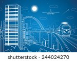 city and transport panorama ... | Shutterstock .eps vector #244024270