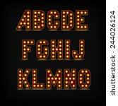 lightbulb alphabet font night... | Shutterstock . vector #244026124