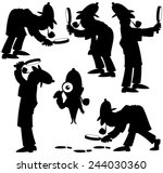 detective silhouettes  set of 6 ...