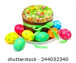 decorated easter cake and eggs... | Shutterstock . vector #244032340