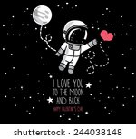 Cute Hand Drawn Astronaut With...
