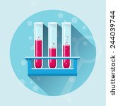test tubes flat  icon  with... | Shutterstock .eps vector #244039744