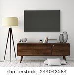 mock up tv screen with vintage... | Shutterstock . vector #244043584