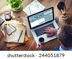 man working computer internet...   Shutterstock . vector #244051879