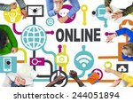 global online communication... | Shutterstock . vector #244051894