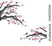 sakura and mountains ink... | Shutterstock .eps vector #244055344
