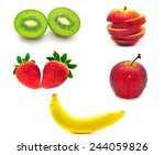 mix fruit isolated on white... | Shutterstock . vector #244059826