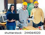 construction worker and couple... | Shutterstock . vector #244064020