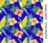 macaw seamless pattern....   Shutterstock .eps vector #244075993
