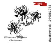chrysanthemum ink illustration. ... | Shutterstock .eps vector #244081798
