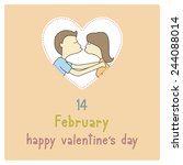 boy and girl are kissing. card... | Shutterstock .eps vector #244088014