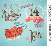 vector retro looking valentine... | Shutterstock .eps vector #244097260