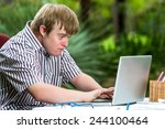portrait of concentrated young... | Shutterstock . vector #244100464