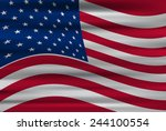 wavy flag of united states of... | Shutterstock .eps vector #244100554