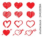 set of red vector drawing hearts | Shutterstock .eps vector #244100584