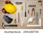 various construction tools on... | Shutterstock . vector #244100734