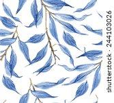 blue leaves vector watercolor... | Shutterstock .eps vector #244103026