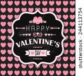 happy valentine's day   flat... | Shutterstock .eps vector #244113754