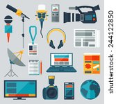 set of journalism icons. mass... | Shutterstock .eps vector #244122850