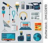 set of journalism icons. mass... | Shutterstock .eps vector #244122850