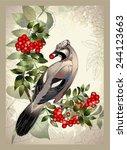 bird a jay on a mountain ash... | Shutterstock .eps vector #244123663