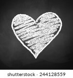 chalkboard drawing of heart.... | Shutterstock .eps vector #244128559