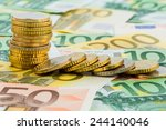 single stack coins  coins lying ... | Shutterstock . vector #244140046