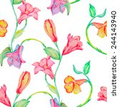 curly flowers seamless pattern. ... | Shutterstock .eps vector #244143940