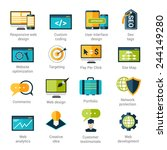 web development icons set with... | Shutterstock .eps vector #244149280