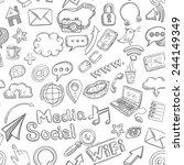 social media seamless pattern... | Shutterstock .eps vector #244149349