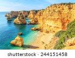 a view of a cliffs near lagos... | Shutterstock . vector #244151458