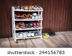 a variety of colorful shoes ... | Shutterstock . vector #244156783