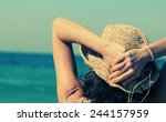 beautiful girl smiling on the... | Shutterstock . vector #244157959