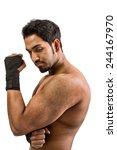 muscular sexy man flexing... | Shutterstock . vector #244167970
