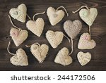 Vintage Hearts On A Wooden...