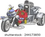 motorcyclist on the big silver... | Shutterstock .eps vector #244173850