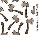 axe seamless pattern on white | Shutterstock . vector #244176028