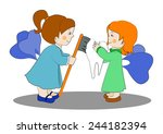 two cute tooth fairies brushing ... | Shutterstock .eps vector #244182394