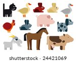 animals in farm   illustration | Shutterstock .eps vector #24421069