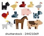 animals in farm   illustration | Shutterstock .eps vector #24421069