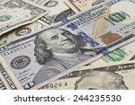 close up shot of several dollar ...   Shutterstock . vector #244235530