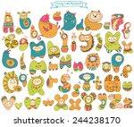 funny doodle cartoon alphabet ... | Shutterstock .eps vector #244238170