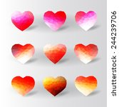 Set Of Abstract Polygon Hearts...