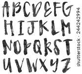 messy brush uppercase alphabet...   Shutterstock .eps vector #244242994