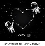 Cute Doodle Astronauts Couple...