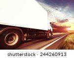 white truck on the asphalt... | Shutterstock . vector #244260913